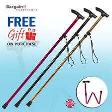 Folding Walking Stick in Gold, Red & Black. Gel T Grip Handle Height Adjustable