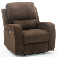 Electric Power Recliner Chair Sofa Velvet Padded Seat Reclining with USB Port