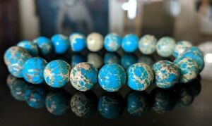 "Turquoise Blue Sea Sediment Bead Bracelet for Men (On Stretch) 10mm 8"" inch"