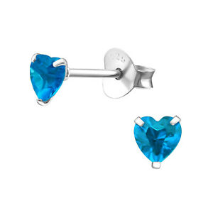 925 Sterling Silver Crystal Heart Stud Earrings Gift Boxed Ideal Gift