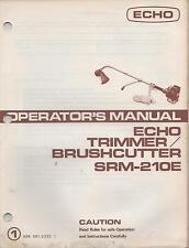 """ECHO TRIMMER/ BRUSHCUTTER OPERATOR""""S MANUAL SRM-210E P/N 898 561-2333 1(534)"""