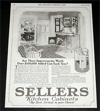 1919 OLD MAGAZINE PRINT AD, SELLERS KITCHEN CABINETS, YOUR BEST SERVANT, ART!