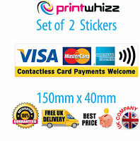 2x Contactless Card Payments Visa Credit Card Sticker Printed Vinyl Shop Taxi