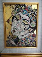 Mohammed Harahap Original painting Balinese flute player gold Ubud Bali Music