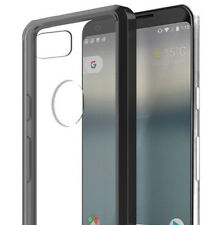for Google Pixel 2 XL - Hard TPU Rubber Gummy Phone Case Cover Black / Clear