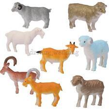 8x Kunststoff Spielzeug Schaf Schafe Bauernhof Hof Tier Spielfigur Set
