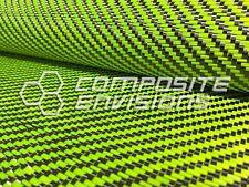 "Carbon Fiber / Lime Green Dyed Fiberglass Fabric 2x2 Twill 50"" 3k 12.53oz/425gsm"