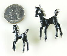 Vtg Pair Horse And Pony Brooches Pins Black Enamel Paint Metal Rhinestones S33e Jewelry & Watches