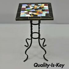 Victorian Tile Top Wrought Iron California Style Pedestal Plant Stand Side Table