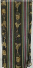 TERRIART Black, Navy, Green, Gold Stripes, Tac Sheer 52x12 Long Scarf-Vintage