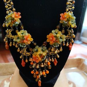 COLLEEN TOLAND Vintage Orange Green Yellow Floral Bead Drippy Necklace Signed