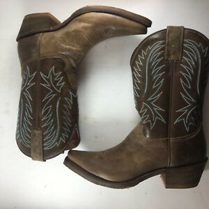 """Nocona Womens US7 Kathrine Cowgirl Cowboy Western Riding Embroidered 10"""" Pull On"""