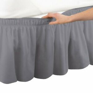 Drop Length Wrap Around Bed Skirt 1000 TC Best Egyptian Cotton Solid Color