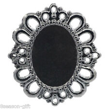 5PCs Cameo Frame Setting Pendants Fit Cabochons Hollow Oval Gunmetal 4.3cmx3.8cm
