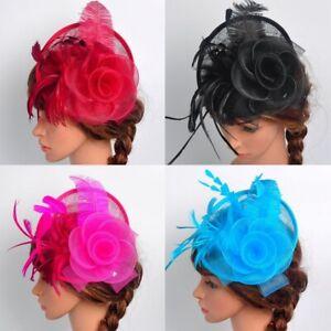 Women Elegent Fascinator Hat Feather Hair Clip Cocktail Ball Party Headpiece