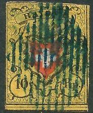 SWITZERLAND - 1850 10Rp 'RED + BLACK on YELLOW' RAYON II SG10 GU Cv £170[A2765]*