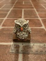 """Vintage Owl Resting On Antique Book Mini Figurine Statue 2.25"""" FREE SHIPPING"""