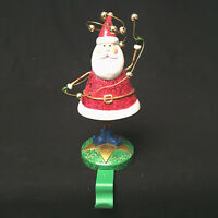 Santa With String Of Bells Glittery Stocking Hanger Christmas Folds Up