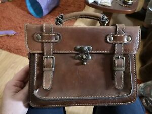 Vintage-Style Brown Leather Satchel with Shoulder Strap