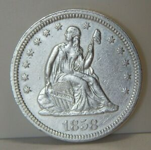 1858 - Silver Seated Liberty Quarter - 25¢ - Full Liberty - Pitts On Arm