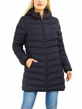 Womens Puffer Coat Padded Mid Length Parka Jacket Size 12 8 10 14 16 Black