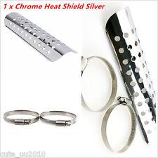 Universal Silver Exhaust Muffler Pipe Heat Shield Cover Heel Guard Motorcycle