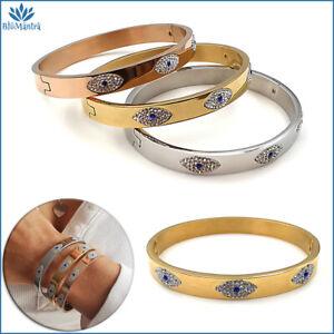 Bracciale da donna rigido a manetta con occhio turco acciaio regalo braccialetto