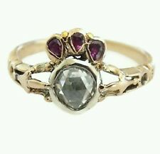 Georgian Gold Ruby Diamond Crowned Heart ring