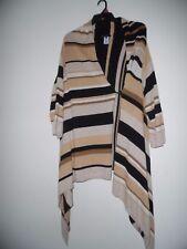 Anne Klein 3X  Open Front Cardigan Drape Sweater Black Ivory Tan Brown  Striped
