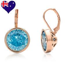 Bella Rose Gold Aquamarine Cubic Zirconia Drop Earrings Wedding-Gift-Jewellery
