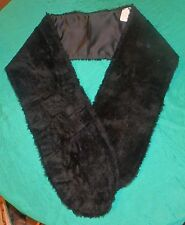 Thin Black Faux Fur Stole w Black Satin Lining for Adult or Teen FSC09