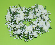Posten-Kunstblumen Hochzeit,1 Herz Gesteck Rosen Gypsophila ca.23 cm Farbe weiß