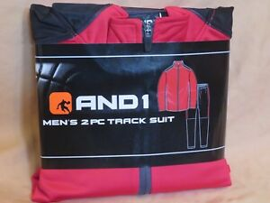 New Men's And1 2 Piece Track Suit Red & Black Zip Up Jacket & Athletic Pants