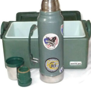 Vintage STANLEY Aladdin Insulated Divided Lunch Box & Thermos Combo MADE IN USA
