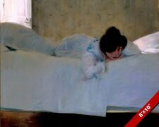 TIRED EXHAUSTED YOUNG WOMAN LAYING ON A BED PAINTING ART REAL CANVAS PRINT
