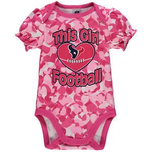 Gerber NFL Houston Texans Baby Girl Pink Hearts Camo Print Bodysuit Onesie