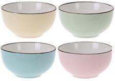 Set of 4 Bone China Soup Bowls Cereal Bowl Bright Pastel Blue Green Yellow Pink