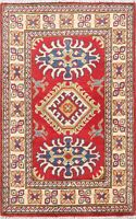 Geometric Oriental Super Kazak Hand-Knotted Wool Area Rug Home Decor Carpet 2x3