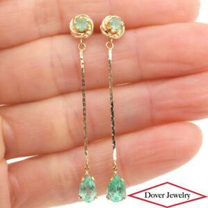 Estate Emerald 14K Gold Long Chain Dangle Earrings NR