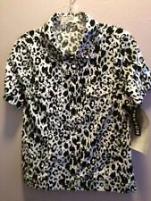 ONQUE CASUALS...LEOPARD SPOTS..S..BLING ON COLLAR..LARGE SNAP FRONT..COTTON..