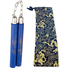 "10"" Bruce Lee Martial Arts Blue Foam Nunchakus Dragon Pattern Training Practice"