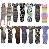 New Women Ladies Celebrity Style Printed Leopard Aztec Midi Soft Bodycon Dress