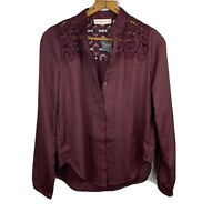 Abercrombie & Fitch Size S Burgundy Long Sleeve Button-Down Blouse Top NWT A&F