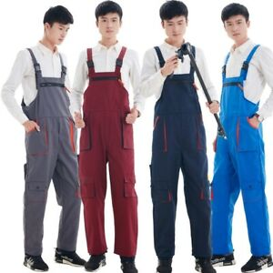 Work Bib Pants Long Casual Overalls Rompers Jumpsuits Solid Pocket Coveralls