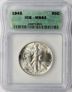 1943 Walking Liberty Half Dollar 50c ICG MS63