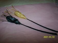 Lot de 2 plumes à chapeau en forme d'épis de blé. Couleur paille et noir. N°249