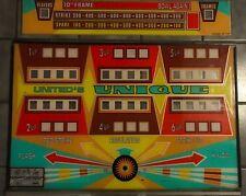 Vintage Arcade Mancave Unique Bowling Back Glass 2 pc. Terminal Vending The Hop