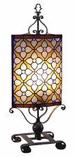 TIFFANY STYLE TABLE LAMP 70CM GRID ART FLOWER GLASS SHADE EX-DISPLAY REDUCED