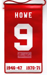 Autographed GORDIE HOWE Retirement Banner Red Wings
