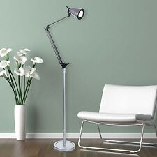 Energy Efficient Adjustable Neck Bright LED 5 Foot Floor Lamp Silver
